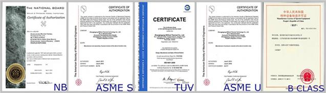 factory sell steam boiler certificates